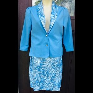 Vintage BLAIR Light Blue Jacket Skirt Suit Set M L